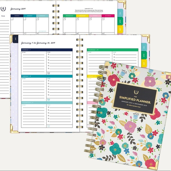 photograph about Simplified Planner referred to as NWT 2019 Emily Ley Simplified Planner Course of action Boutique